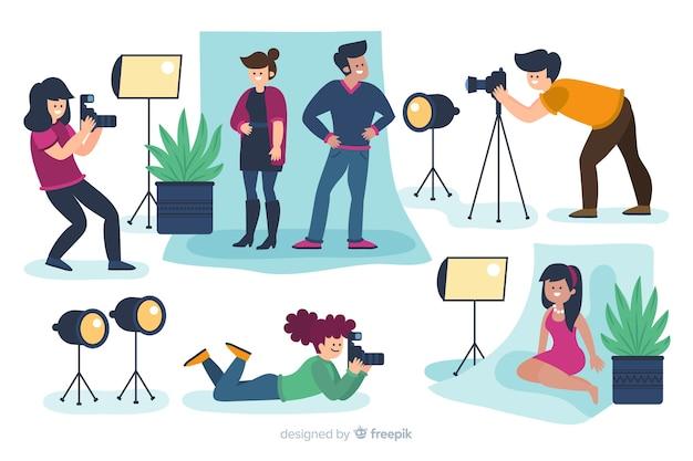Illustrierte fotografen, die aufnahmen mit verschiedenen modellen packen