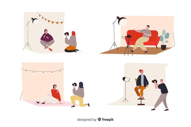 Illustrierte fotografen, die verschiedene aufnahmen machen