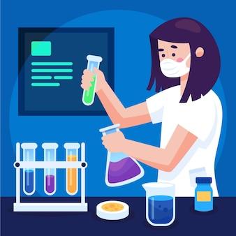 Illustrierte frau, die an einem impfstoff arbeitet