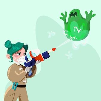 Illustrierte frau, die einen grünen virus kämpft