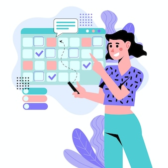 Illustrierte frau, die einen termin im kalender bucht