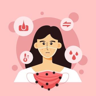Illustrierte frau, die probleme mit akne hat, die durch medizinische maske verursacht werden