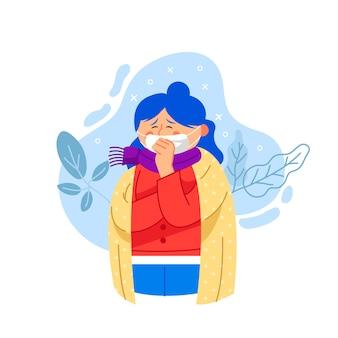 Illustrierte frau mit einer erkältung