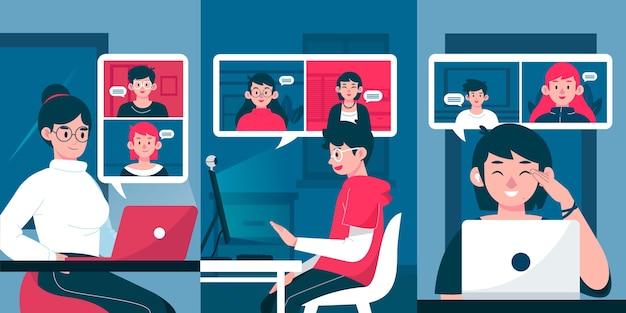 Illustrierte freunde videokonferenzszene