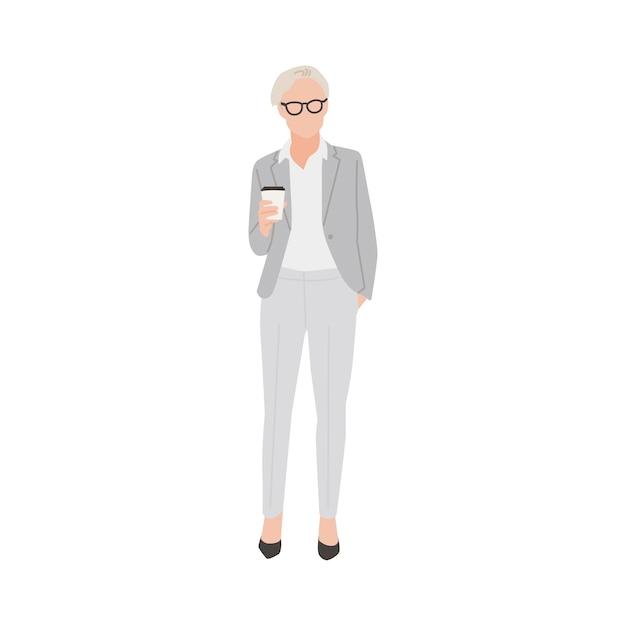 Illustrierte geschäftsfrau mit heißem kaffee