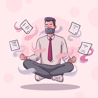 Illustrierte geschäftsperson, die meditiert