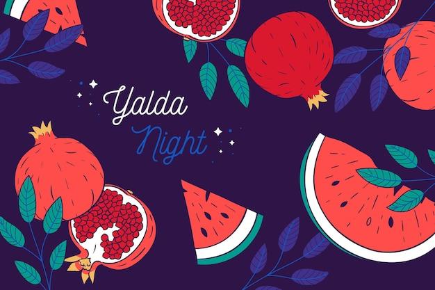 Illustrierte gezeichnete yalda tapete