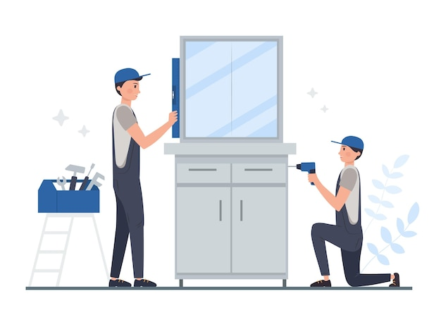 Illustrierte haushalts- und renovierungsberufe