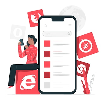 Illustrierte illustration des mobilen browsers