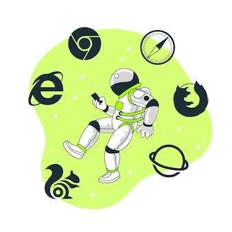 Illustrierte illustration des mobilen browsers