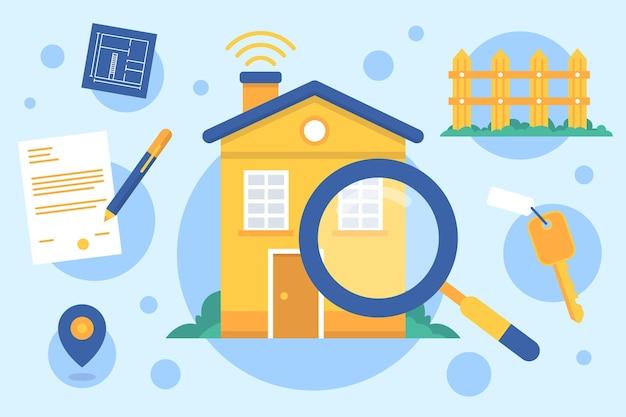 Illustrierte immobiliensuche