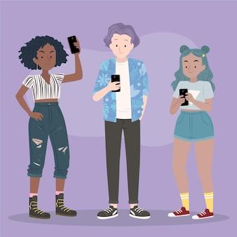 Illustrierte junge leute, die smartphones benutzen