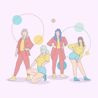 Illustrierte k-pop-mädchengruppe