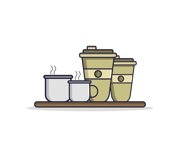 Illustrierte kaffeetasse