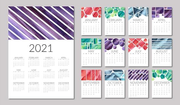 Illustrierte kalendervorlage 2021