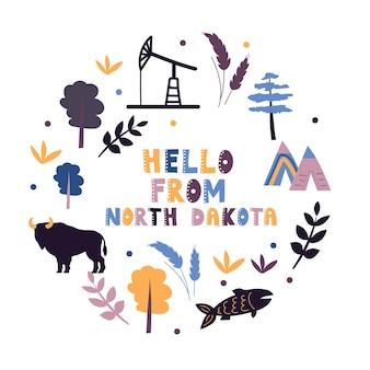 Illustrierte karte des bundesstaates north dakota in den vereinigten staaten mit städten und sehenswürdigkeiten. bearbeitbare vektorillustration
