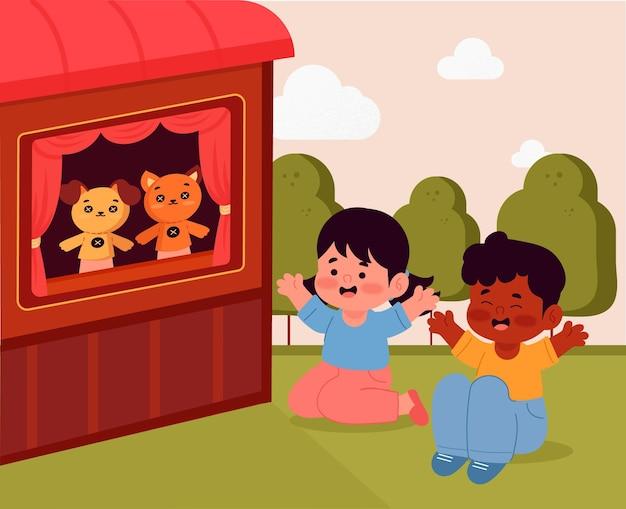 Illustrierte kinder, die ein niedliches puppenspiel ansehen