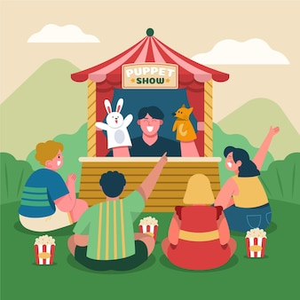 Illustrierte kinder, die puppenspiel beobachten