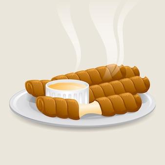 Illustrierte köstliche tequeños-stangen mit soße