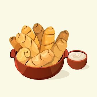 Illustrierte köstliche tequeños-sticks
