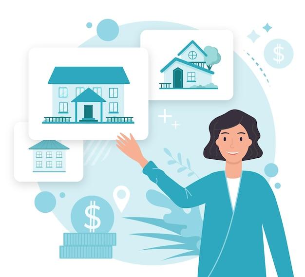 Illustrierte kreative maklerunterstützung