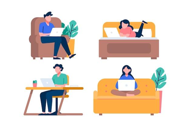 Illustrierte leute, die fern arbeiten