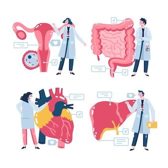 Illustrierte medizinische aufkleber gesetzt