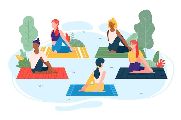 Illustrierte menschen, die draußen yoga machen