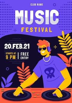 Illustrierte musikfestival-flyer-vorlage Kostenlosen Vektoren