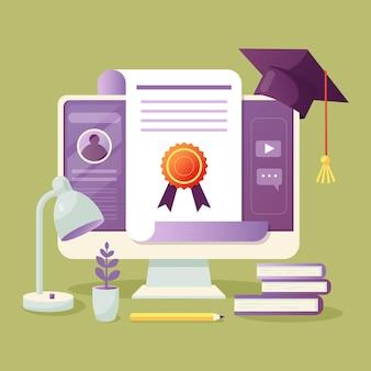 Illustrierte online-zertifizierung auf dem bildschirm