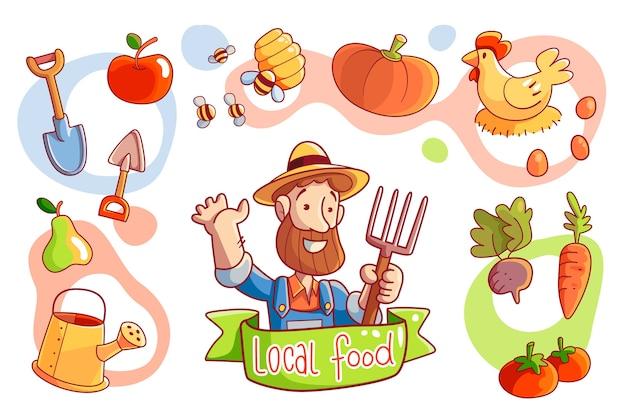 Illustrierte organische landwirtschaft