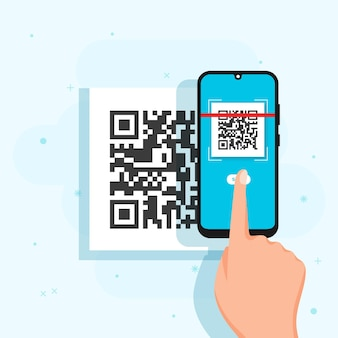 Illustrierte person, die einen qr-code mit einem smartphone scannt