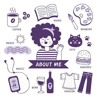 Illustrierte person mit hobbys und interessen