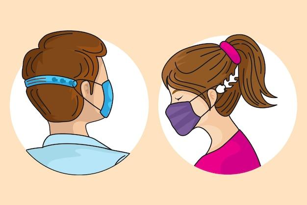 Illustrierte personen, die einen verstellbaren gesichtsmaskenriemen tragen