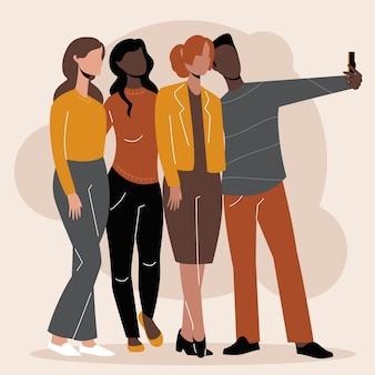 Illustrierte personen, die fotos mit dem smartphone machen