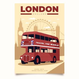Illustrierte plakatschablone für die reise