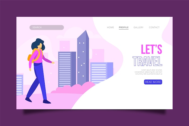 Illustrierte reisende themenorientierte landingpage