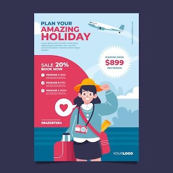 Illustrierte reisende verkaufsplakatschablone