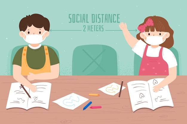 Illustrierte soziale distanz in der schule