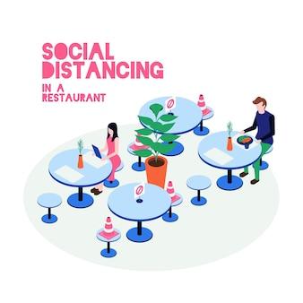 Illustrierte soziale distanzierung im restaurant
