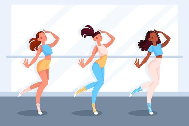 Illustrierte tanzfitnessklasse