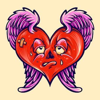 Illustrierte valentinstagillustration des gebrochenen herzens