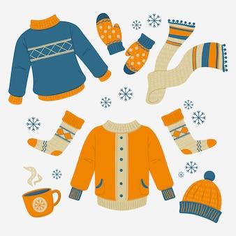 Illustrierte winterkleidungssammlung