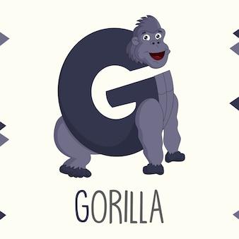 Illustrierter alphabet-buchstabe g und gorilla