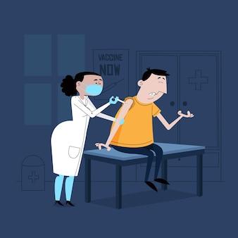 Illustrierter arzt, der einem patienten impfstoff injiziert