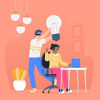 Illustrierter dieb, der eine idee stiehlt