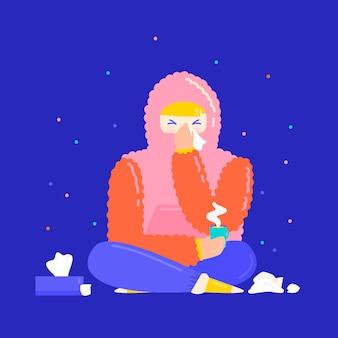 Illustrierter junger mensch mit einer erkältung