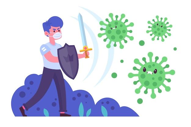 Illustrierter mann, der das virus bekämpft