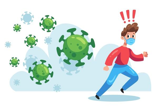 Illustrierter mann, der von partikeln des coronavirus läuft