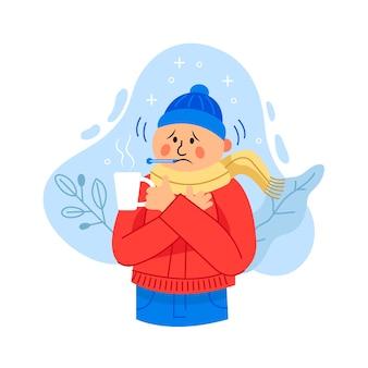 Illustrierter mann mit einer erkältung